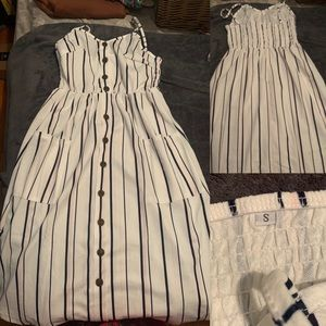 Small striped mid length summer dress